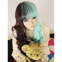 Split Color Rayon Long Curly Fashion Lolita Wig found on Polyvore