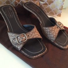 """Vintage COACH """"Melanie""""  Heels Signature logo canvas tan and leather trim sandals/heels. Size 6B. Great condition, has some rubbing off on the heel of the right shoe, see photo.  COACH dust bag included. Coach Shoes Heels"""