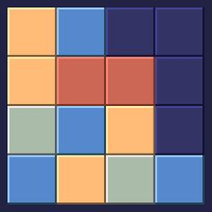 Clear the field by removing groups of more than one colored square; the larger the group you remove, the more points you get.  #samegame #js1k #puzzle #game #javascript