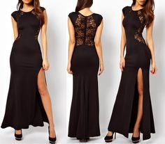 Womens Sexy Lace See-through Back Slim Bodycon Split Side Maxi Long Party Dress | eBay