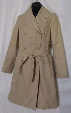 Kenneth Cole Reaction Beige Cotton Blend Trench Coat Size XS #KennethColeReaction #Trench