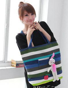 $4.51 Retro Korea Stripe Rabbit Pendant Shoulder Bag