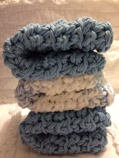 Cozy crocheted dishcloths in Cozy Blues by AllAboutTheCozy on Etsy, $6.00