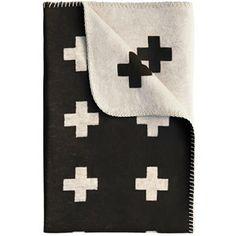 Pia Wallen Mini Black and White Cross Blanket - norsu interiors Home Deco, Cross Symbol, White Crosses, Cross Patterns, Organic Cotton, Sweet Home, Plaid, Colours, Black And White