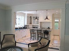 I love this Kitchen and the great room entrance.  And did you notice the starfish on the columns?