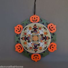 Just Nan Witch Way Halloween Wreath Ornament Finished Completed Cross Stitch | eBay
