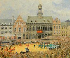 Tableau - Le Doudou sur la Grand-Place de Mons - BOUVIE F.A. (XXe) [image retravaillée avec PhotoFiltre]