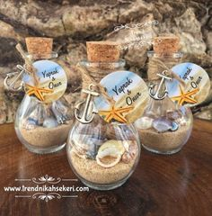 Candy Models Wedding Candy Models,Wedding Candy Models, Nikah Åžekeri Modelleri Jel mum nikah hediyesi Beach In Bottle Wedding Favor Beach Theme Shell Starfish Wedding Favors And Gifts, Creative Wedding Favors, Beach Wedding Decorations, Beach Wedding Favors, Wedding Candy, Nautical Wedding, Wedding Centerpieces, Trendy Wedding, Wedding Souvenir