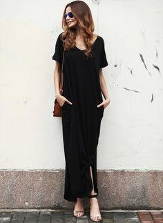 Spandex Rayon Solid Short Sleeve Maxi Elegant Dresses (1041030) @ floryday.com