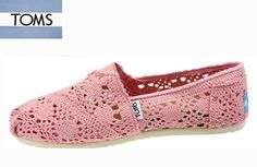 Toms Shoes Classic Pink Crochet Womens