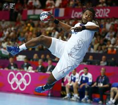 Day 8 - France's Cedric Sorhaindo takes a shot to score against Iceland in their men's handball Preliminaries Group A match at the Copper Box venue during the London 2012 Olympic Games. MARKO DJURICA/REUTERS