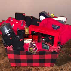 Image of Large Polo Basket - Boyfriend gift basket - Valentines Day Baskets, Valentines Gifts For Boyfriend, Boyfriend Anniversary Gifts, Valentines Ideas For Him, Christmas Ideas For Boyfriend, Cute Boyfriend Gifts, Boyfriend Gift Basket, Valentine's Day Gift Baskets, Christmas Gift Baskets
