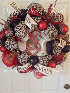 Leopard and Red Happy Holidays Wreath by DazzlinDoorzbyKristi, $95.00