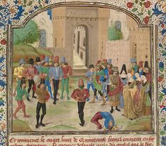 The Competition in Sittacene and the Placating of Sisigambis / Attributed to the Master of the Jardin de vertueuse consolation about 1470-75
