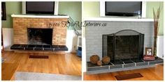 yellow and orange brick fireplace painted gray how to update a fireplace - Kylie M Interiors