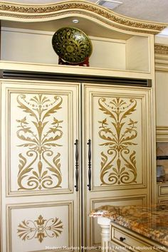 Stenciled Cabinets with Modern Masters Metallic Paints | Project by A Fabulous Finish