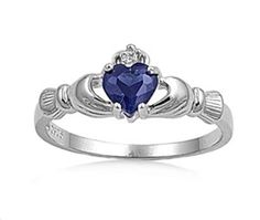 Silver Irish Claddagh Ring w/Sapphire CZ Heart