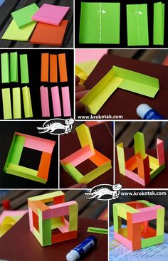 3D cube – made of 12 different coloured sheets