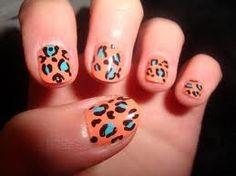 Coral & aqua leopard print nail art