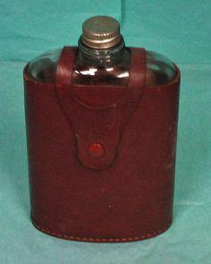 Flask Elyte Leather Glasstop Grain Cowhide England Drink Missing Top Vintage | eBay