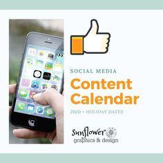Yearly Calendar, Calendar 2020, 2020 Calendar Template, Holiday Dates, Major Holidays, Email Design, Social Media Content, Templates, How To Plan