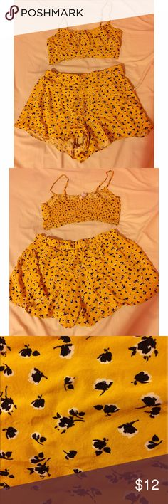 2 Piece Crop Top/Shorts Set Gently used and in great condition! Soft and flowy. Crop top runs smaller than usual tops but the shorts can be adjusted to high waist! Great for spring and summer Forever 21 Other