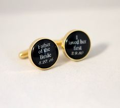 Gold Cuff links father of the bride cuff links Wedding gift for father of the bride by yayadiyclub on Etsy
