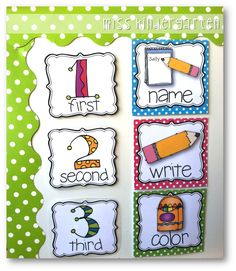 Miss Kindergarten: Picture Direction Icons