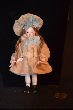 Antique French Doll Mignonette All Bisque Swivel Head Dressed