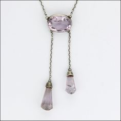 Edwardian Era Silver Amethyst Drop Negligée Drop Necklace