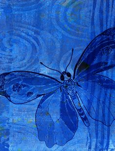 Lovely painting all in blue of a butterfly Im Blue, Kind Of Blue, Love Blue, Deep Blue, Blue Green, Blue And White, Bleu Indigo, Blue Bayou, Himmelblau