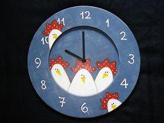 Relógio Galinhas Psicodélicas - Pintura Country -  Psychedelic chickens - Country Painting by Olha o que eu fiz..., via Flickr