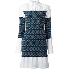 Opening Ceremony gathered shirt dress (€555) ❤ liked on Polyvore featuring dresses, blue, gathered dress, shirring dress, rouched dress, shirred dress and t-shirt dresses