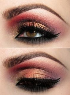 Red + Gold Eyeshadow with black eyeliner...love this look. For more beauty and fashion check http://www.pinterest.com/perfectcircle/beauty-lifestyle-fashion-3/