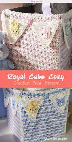 This Cube Cozy Basket Crochet Cover Free Pattern will totally change the appearance of the Basket or bins. Crochet Bunting Free Pattern, Crochet Garland, Crochet Basket Pattern, Crochet Patterns, Crochet Baskets, Crochet Borders, Crochet Stitches, Crochet Bib, Crochet Gifts