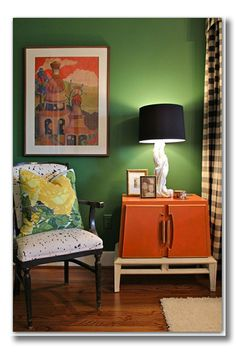 47 ideas for bedroom green black white guest rooms Orange Interior, Nordic Interior, Interior Design, Interior Shop, Interior Ideas, Green Rooms, Bedroom Green, Green Walls, Guest Room Office
