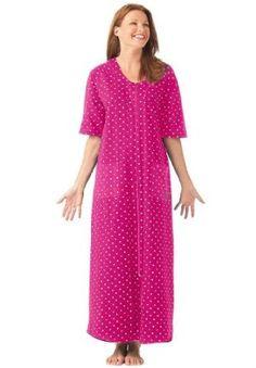c65a4ae92b6 Dreams   Co. Plus Size Petite Long Robe By Dreams   Co. Sweetberry Dot