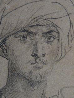 CHASSERIAU Théodore,1846 - Arabe coiffé d'un Turban, debout contre un Arbre - drawing - Détail 26