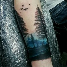 60 Forearm Tree Tattoo Designs For Men - Forest Ink Ideas Blue Ink Sky Watercolor Mens Forearm Tree Tattoos Trendy Tattoos, Cute Tattoos, Beautiful Tattoos, Body Art Tattoos, New Tattoos, Sleeve Tattoos, Tattoos For Women, Tattoos For Guys, Tatoos