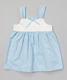 Love this Blue & White Polka Dot Babydoll Dress - Toddler & Girls by Togs 4 Toddlers on #zulily! #zulilyfinds