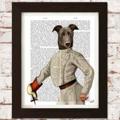 Printed onto genuine antique dictionary pages  This Greyhound Fencer piece is a print of an original illustration on antique 1800's dictionary pages.