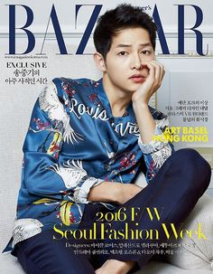 Song Joong-ki pulls off a bright embroidered jacket effortlessly for the cover page of fashion magazine