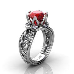 Classic 950 Platinum 3.0 Ct Ruby Diamond Collar Double Knot Solitaire Ring R451-PLATDR | ArtMastersJewelry