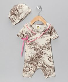 Take a look at this Coco Toile Organic Wrap Romper & Beanie - Infant on zulily today!
