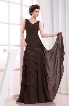 Chocolate Brown Romantic Sleeveless Zip up Chiffon Floor Length Tiered Bridesmaid Dresses