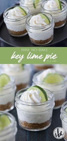 This recipe for Mini No-Bake Key Lime Pie in a Jar is summer dessert perfect! #keylime #pie #dessert #recipe #masonjar #lime #minifood #memorialday #memorial #day