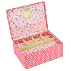Large coral Button It Sewing Box