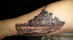 USS Yarnall. My new ink for my father. #ink #tattoo #ship #destroyer #navy