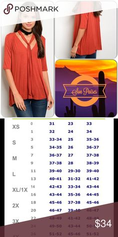 Rust Neck Tie Top This adorable top features short sleeves, free flowy knit material and neck tie accent. Great fall/winter color. 96% Rayon, 4% Spandex (This closet does not trade or use PayPal) Maronie Tops Tunics