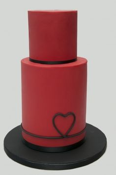 Red heart wedding cake by cakesbyliz on CakeCentral.com ..... love this!!!!